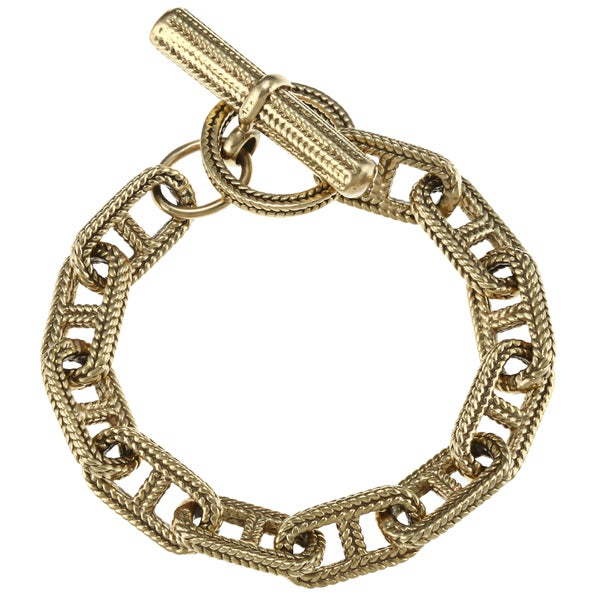 Pre-owned 18k Green Gold Hermes-style Link Estate Bracelet