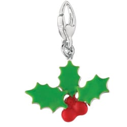 Sterling Silver Holly Leaves & Berries Charm