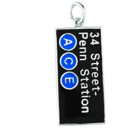 Sterling Silver 34 ST PENN Station ACE Charm