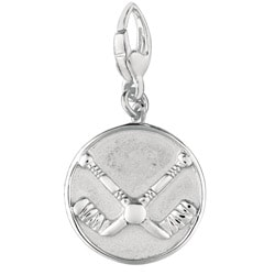 Sterling Silver Hockey Sticks Crossed with Puck Charm