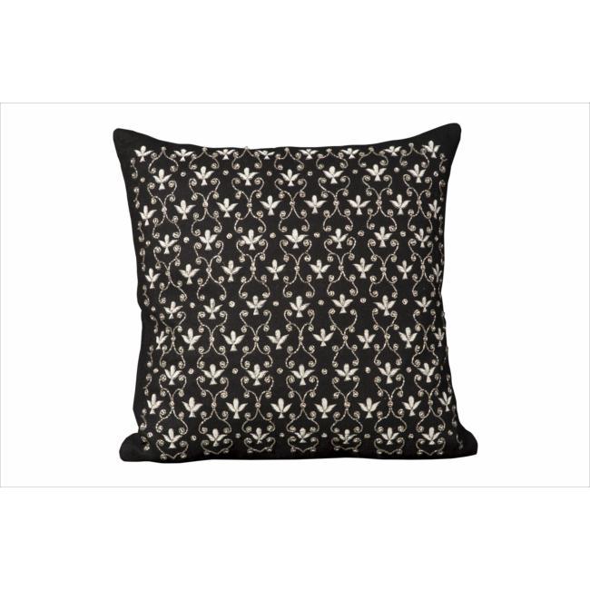 Nourison Luminecence Black Fleur de Lis Pillow (1'8 x 1'8)