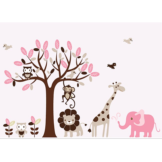 Buy nursery - Nursery Wall Art Girl\'s Safari Animal Tree Wall Decal Set (Safari)