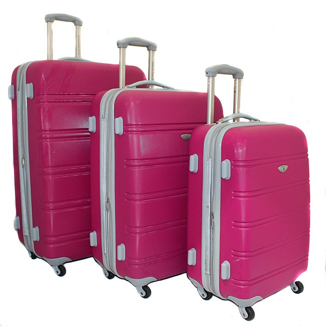 American Green Pink Expandable Hardside 3-piece Luggage Set