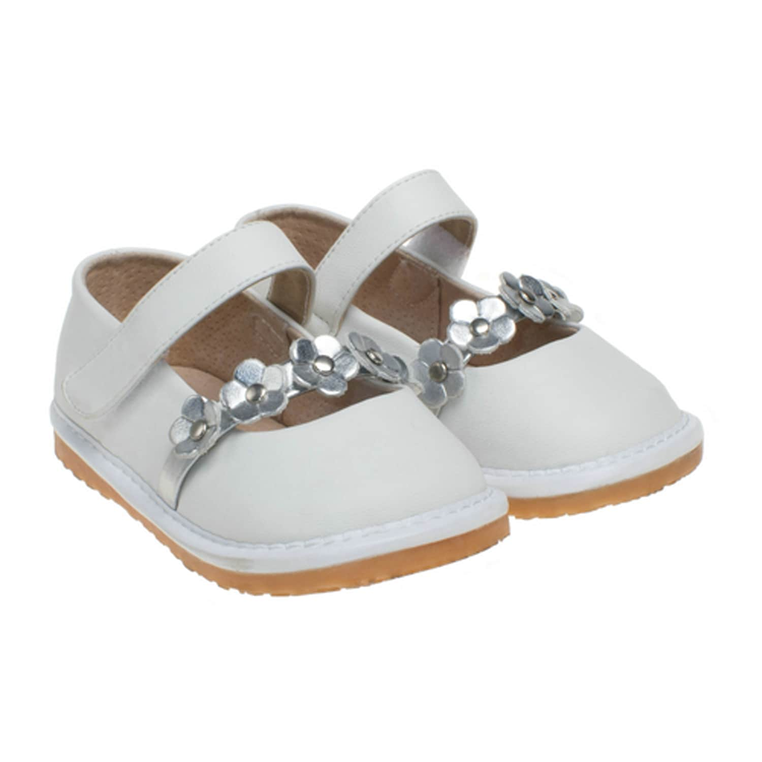 Little Blue Lamb Toddler SQ Series White Leather Squeaky Shoes