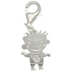 CGC Sterling Silver Laser-cut Boy in Soccer Shirt Charm