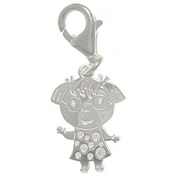 CGC Sterling Silver Laser-cut Girl with Glasses Charm