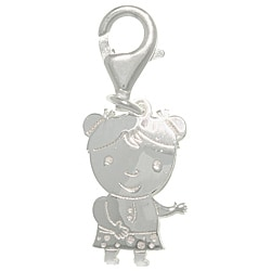 CGC Sterling Silver Laser-cut Girl with Polka Dot Dress Charm