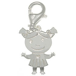 CGC Sterling Silver Laser-cut Girl with Heart Dress Charm