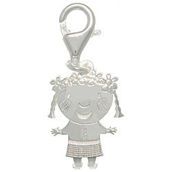 CGC Sterling Silver Laser-cut girl with Flower Hair Charm