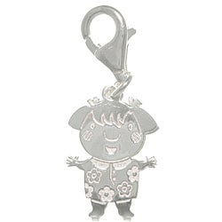 CGC Sterling Silver Laser-cut girl with Flower Dress Charm