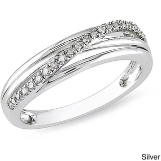 Miadora Round-cut Diamond Accent High-polish Sterling Silver Ring