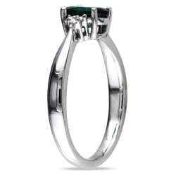 Miadora Sterling Silver 3/4ct TGW Created Emerald and Diamond Accent Ring