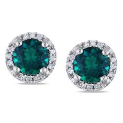 Miadora 10k White Gold 1ct TGW Created Emerald and Diamond Accent Earrings
