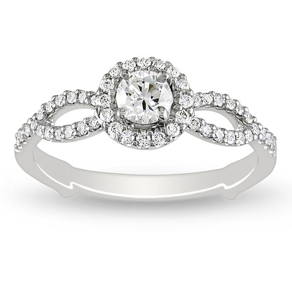 Miadora 18k White Gold 1/2ct TDW Round Halo Diamond Ring (H-I, I1-I2)