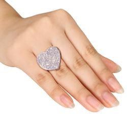Miadora Sterling Silver White Druzy Heart-shaped Ring