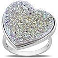 Miadora Sterling Silver White Druzy Heart-shaped Ring