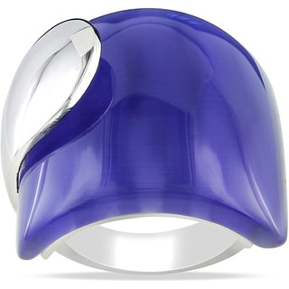 Miadora Sterling Silver 35ct TGW Simulated Cat's Eye Fashion Ring