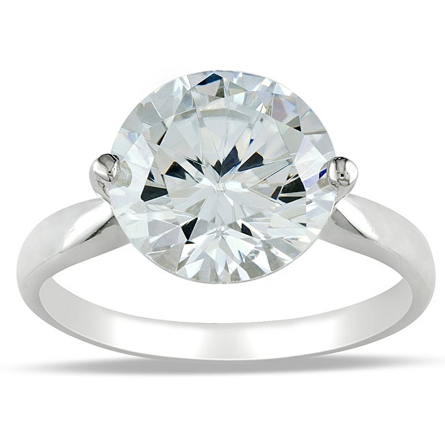 Miadora Sterling Silver Cubic Zirconia Solitaire Ring