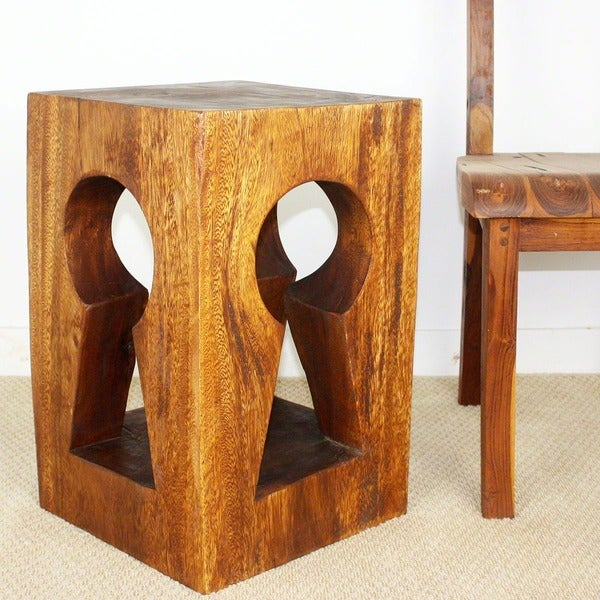 Monkey Pod Wood Keyhole Stool with Walnut-brown Finish (Thailand)