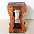 Monkey Pod Wood Keyhole Stool (Thailand)