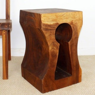 Monkey Pod Wood Keyhole Stool (Thailand)