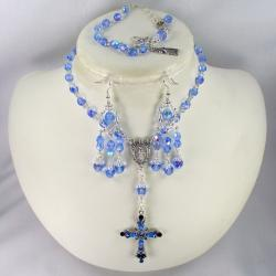 Silverplated Blue Sapphire Crystal Catholic Wedding Jewelry Set