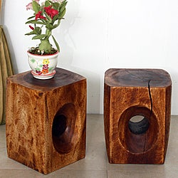 Set of 2 Monkey Pod Tapered Peephole Stands (Thailand)