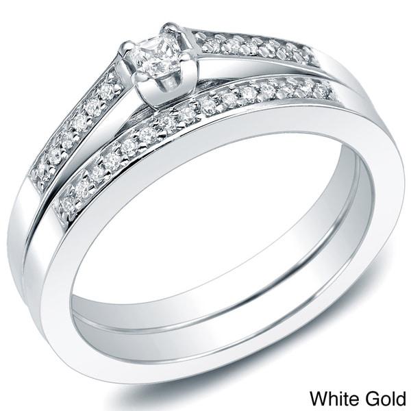 Auriya 10k Gold 1/4ct TDW Princess Diamond Bridal Ring Set (I-J, I1-I2)