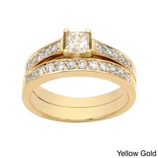 Auriya 14k Gold 1ct TDW Princess-cut Diamond Bridal Ring Set (I-J, I2)