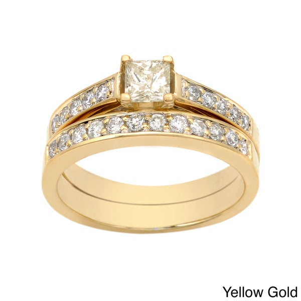 Auriya 14k Gold 1ct TDW Princess-cut Diamond Bridal Ring Set (I-J, I2)