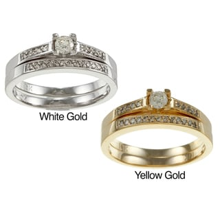 Auriya 10k Gold 1/4ct TDW Round Diamond Bridal Ring Set (I-J, I1-I2)