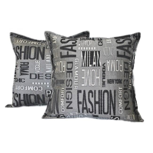 Sherry Kline 18-inch Fashion Black Charcoal Pillows (Set of 2)