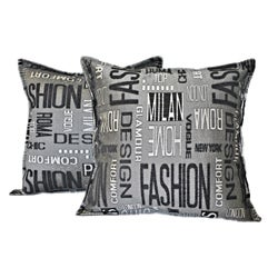Sherry Kline 18-inch Fashion Black Charcoal Pillows (Set of 2)