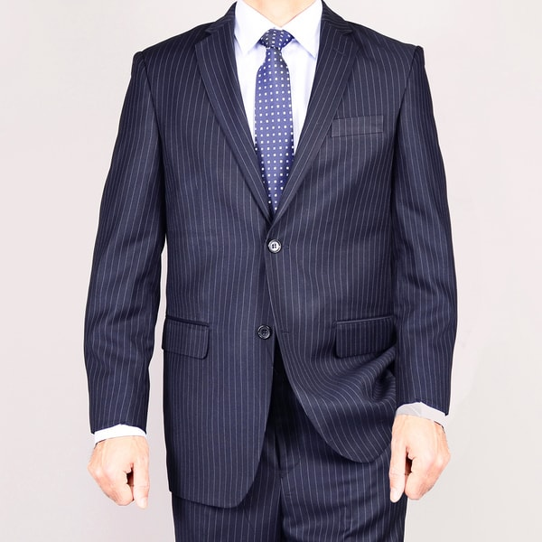 Men's Navy Blue Striped Two-button Suit