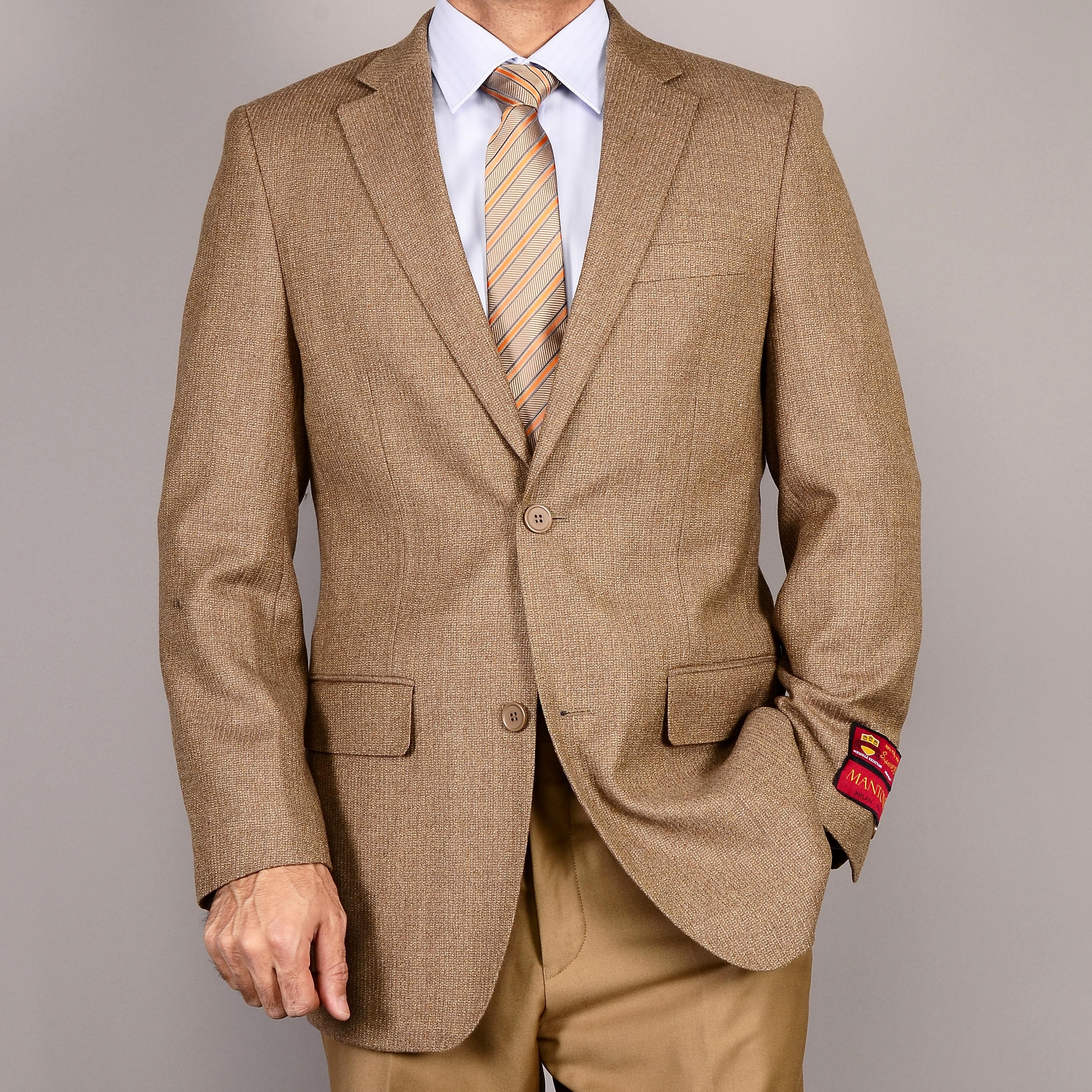 Men's Classic Camel Two-Button Wool Sport Coat