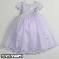 Sweetie Pie Girls Polyester Special Occasion Dress with Lace Sleeves