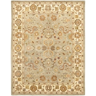 Handmade Heritage Oushak Light Green/ Beige Wool Rug (11' x 17')