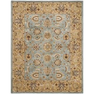 Handmade Heritage Mahal Blue/ Gold Wool Rug (11' x 17')