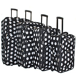 Overland Polka Dot 4-piece Expandable Wheeled Upright Luggage Set