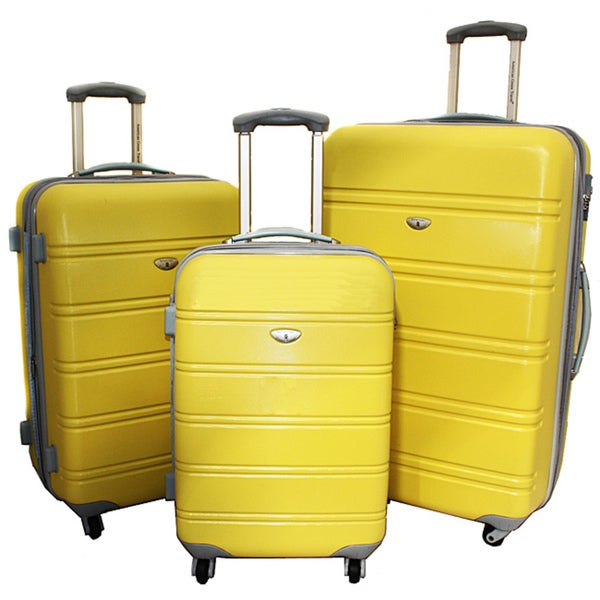 American Green Yellow Travel 3-piece Lightweight Expandable Hardside Spinner Luggage Set