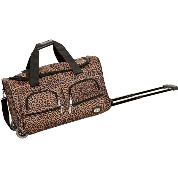 Rockland Deluxe Leopard 22-inch Carry-on Rolling Duffle Bag