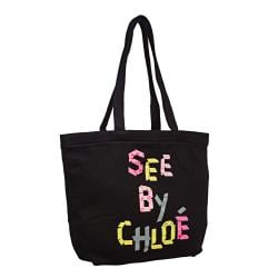 See by Chloe Black/Multicolor Open-top Canvas Tote Bag 14245645