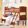 TRIBECCA HOME Armidale Mahogany Beadboard Twin-Full Bunk Bed