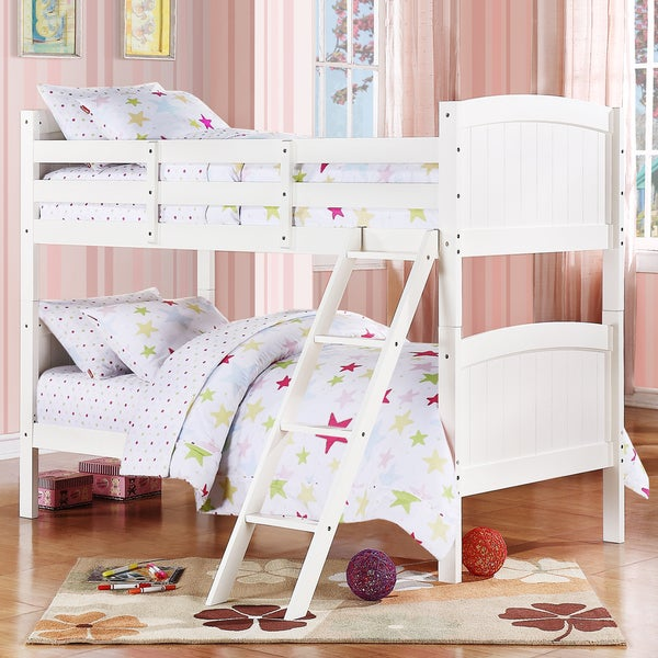 TRIBECCA HOME Armidale White Beadboard Twin Bunk Bed