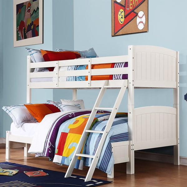 TRIBECCA HOME Armidale White Beadboard Twin Full Bunk Bed
