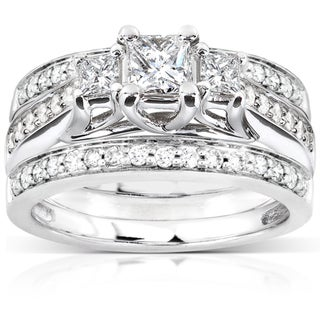 Annello 14k White Gold 7/8ct TDW Diamond 3-piece Bridal Ring Set (H-I, I1-I2)