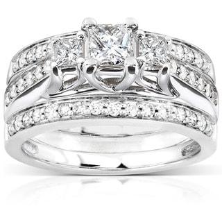Annello 14k White Gold 7/8ct TDW Diamond 3-piece Bridal Ring Set (H-I, I1-I2) with Bonus Item