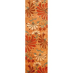 Hand-tufted Eastern Rust Wool Rug (3' x 10')