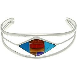 CGC Silvertone Faux Composite Stone Diamond-shaped Mosaic Cuff Bracelet
