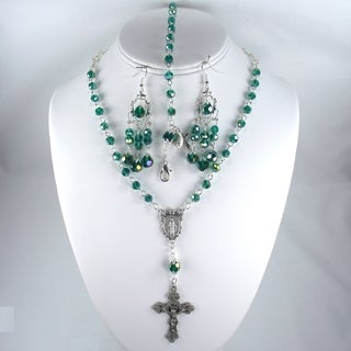 Emerald Crystal Catholic Wedding Jewelry Set